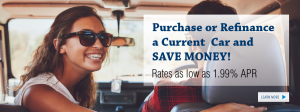 Girl and a guy in a car. The text talks about refinancing for lower rates.