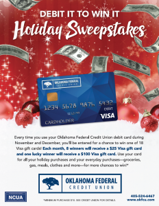 Debit card on a festive holiday background. The description talks about the sweepstakes promotion.