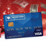 Debit card on a festive background