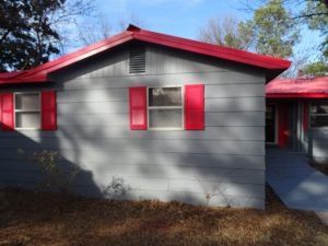 Side of the home with wheelchair ramp